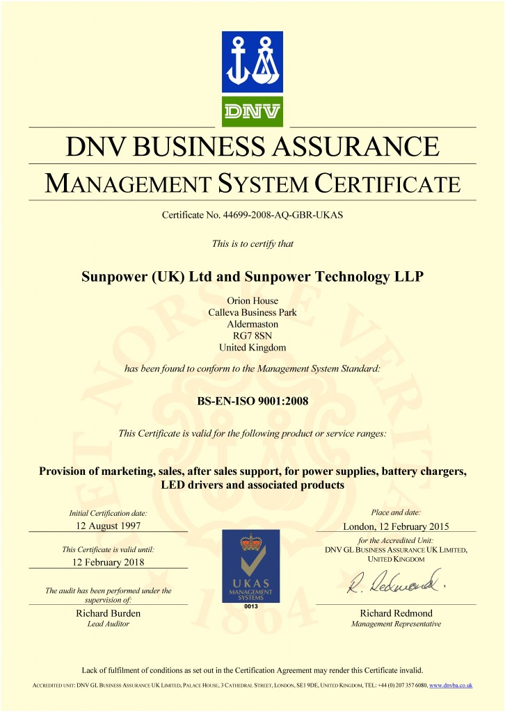 Sunpower BS-EN-ISO 9001:2008 Quality Management System ISO 9000 Certificate