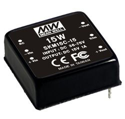 15W Single Output 36-75VDC Input Regulated DC-DC Converter