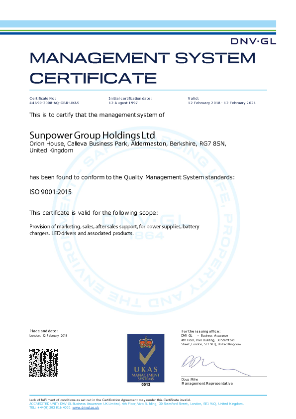 Sunpower BS-EN-ISO 9001:2015 Quality Management System Certificate