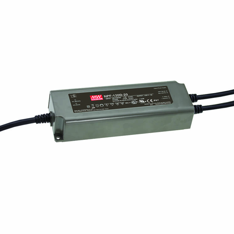 IP67 Rated 54V 120W Single Output LED Driver with 3 in 1 dimming and Auxiliary DC Output